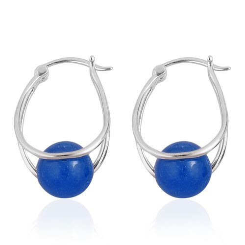 Super Auction - Blue Jade (Rnd 10 mm) Hoop Earrings (with Clasp) in Rhodium Plated Sterling Silver 17.000 Ct.