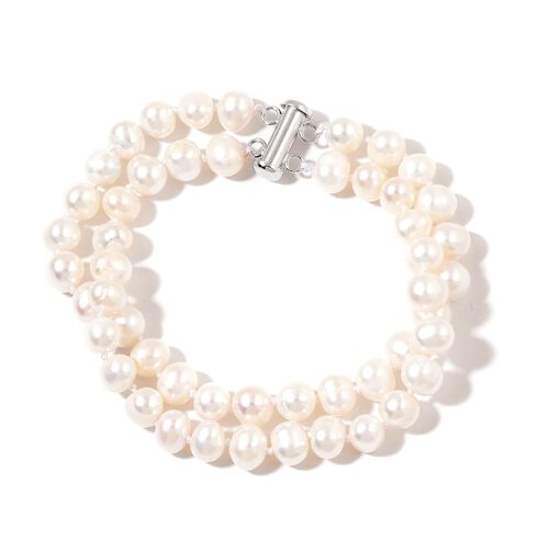 Fresh Water White Pearl Beads Bracelet (Size 7.5) in Rhodium Plated Sterling Silver