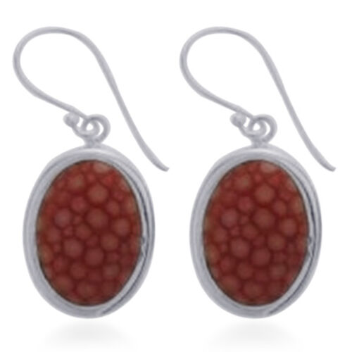 Cherry Stingray Leather Hook Earrings