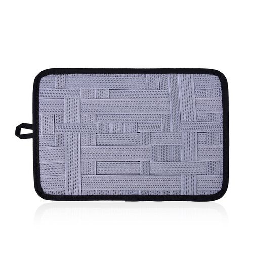 Grey Colour Grid Pattern iPod, iPhone, Blackberry and Other Digital Devices Organizers (Size 31x21 Cm)