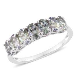 9K White Gold 1.50 Carat AA Natural Green Tanzanite 7 Stone Ring
