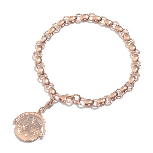 GP Kanchanaburi Blue Sapphire (Rnd) Coin Charm Bracelet (Size 7.5) in Rose Gold Overlay Sterling Silver