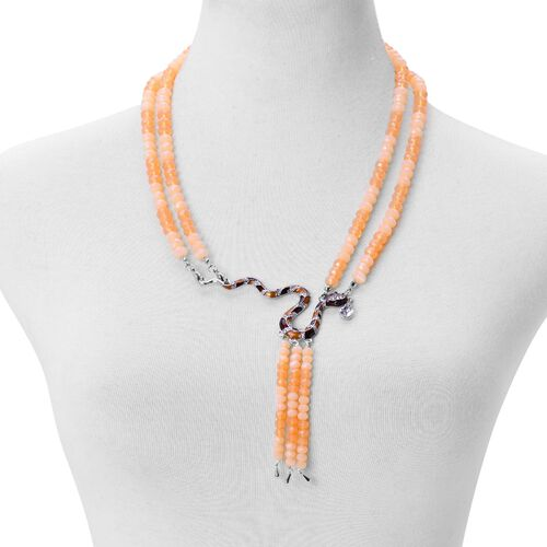 Champagne Colour Diamond, White and Black Austrian Crystal Enameled Snake Necklace (Size 22) in Silver Tone