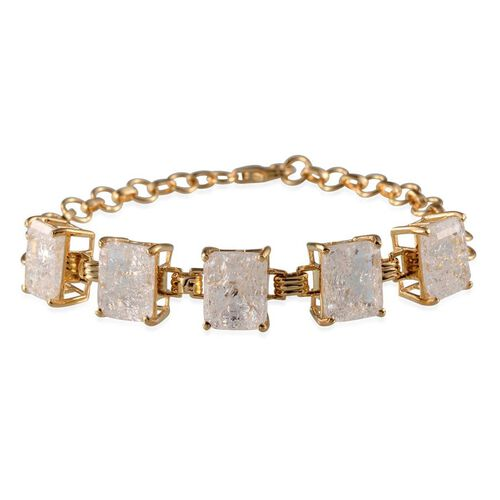 White Crackled Quartz (Oct) Bracelet (Size 7.5) in 14K Gold Overlay Sterling Silver 17.000 Ct.