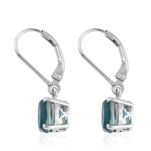 Capri Blue Quartz (Ovl) Lever Back Earrings in Platinum Overlay Sterling Silver 3.000 Ct.