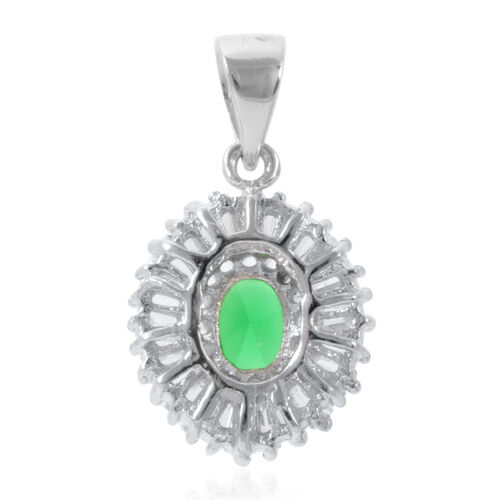 ELANZA AAA Simulated Emerald (Ovl), Simulated White Diamond Pendant in Rhodium Plated Sterling Silver