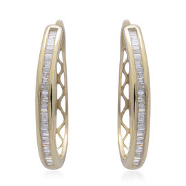 Limited Edition- Designer Inspired- 9K Yellow Gold SGL Certified Diamond (Bgt) (I3 G-H ) Hoop Earrings (with Clasp) 0.500 Ct.