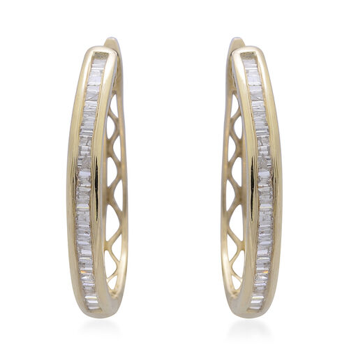 Limited Edition- Designer Inspired- 9K Yellow Gold SGL Certified Diamond (Bgt) (I3 G-H) Hoop Earrings (with Clasp) 0.500 Ct.