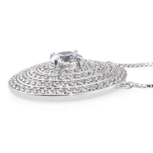 Limited Edition-J Francis - Platinum Overlay Sterling Silver (Rnd) Adjustable Necklace (Size 18) Made with SWAROVSKI ZIRCONIA, Number of Swarovski 123 Silver wt 11.87 Gms.