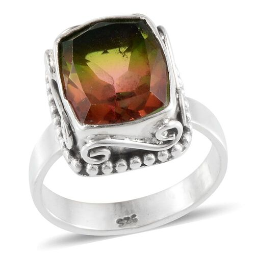 Jewels of India Rainbow Genesis Quartz (Cush) Solitaire Ring in Sterling Silver 5.560 Ct.