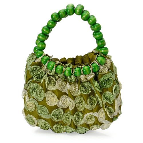 Green Ribbon Work Fancy Tote Bag with Beads Handle (Size 18x7x18 Cm)