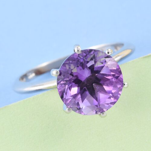 Moroccan Amethyst (Rnd) Solitaire Ring in Platinum Overlay Sterling Silver 3.500 Ct.