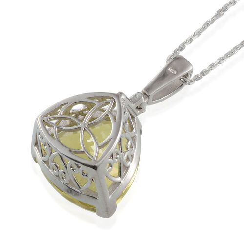 Brazilian Green Gold Quartz (Trl) Solitaire Pendant With Chain in Platinum Overlay Sterling Silver 25.000 Ct.