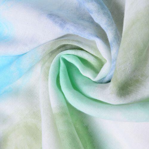 Green, Light and Dark Blue  Vortex Pattern White Colour Scarf (Size 180x90 Cm)