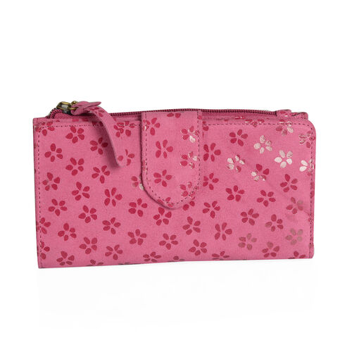Summer New Collection Genuine Leather Fuchsia Colour Floral Pattern RFID Blocker Ladies Wallet with Buckle Flap (Size 19x10.5x3 Cm)