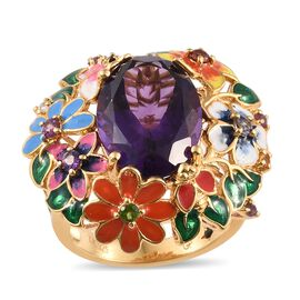 GP Amethyst (Ovl 11.00 Ct), Mozambique Garnet, Russian Diopside, Citrine and Multi Gemstone Floral Ring in 14K Gold Overlay Sterling Silver 11.500 Ct. Silver wt 12.64 Gms.