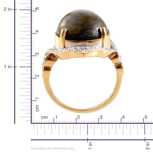 Labradorite (Pear 15.50 Ct), Diamond Ring in 14K Gold Overlay Sterling Silver 15.520 Ct.