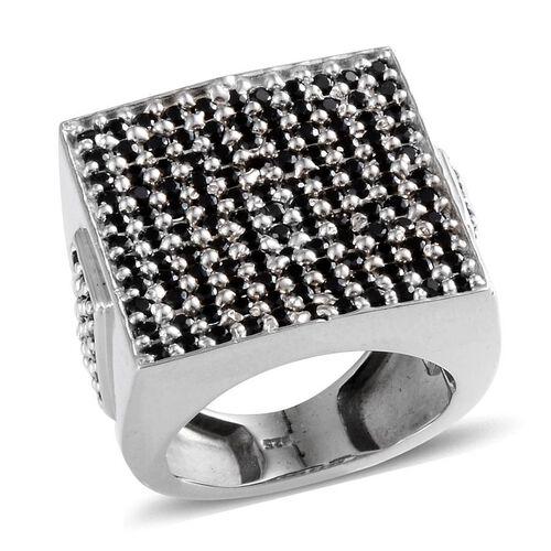 Boi Ploi Black Spinel (Rnd) Cluster Ring in Platinum Overlay Sterling Silver 2.250 Ct.