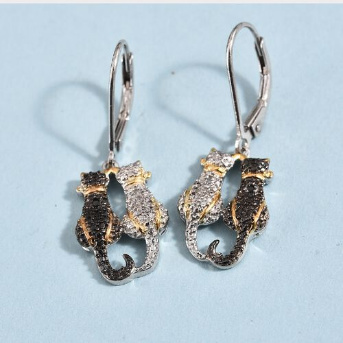 Black and White Diamond (Rnd) Twin Cat Lever Back Earrings in Platinum and Yellow Gold Overlay Sterling Silver