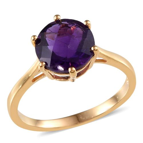 Amethyst (Rnd) Solitaire Ring in 14K Gold Overlay Sterling Silver 3.500 Ct.