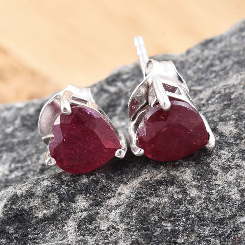 African Ruby 1.75 Ct Heart Silver Stud Earrings (with Push Back) in Platinum Overlay