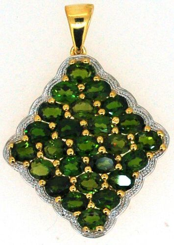 Russian Diopside (Ovl) Cluster Pendant in 14K Gold Overlay Sterling Silver 4.250 Ct.