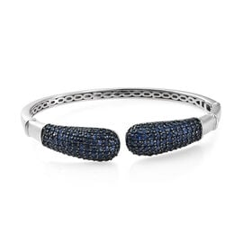 AAA Kanchanaburi Blue Sapphire (Rnd) Bangle (Size 7.5) in Black Platinum Overlay Sterling Silver 7.250 Ct. Silver wt 27.03 Gms. Number of Gemstone 172