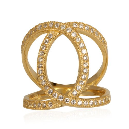 ELANZA AAA Simulated Diamond (Rnd) Ring in 14K Gold Overlay Sterling Silver