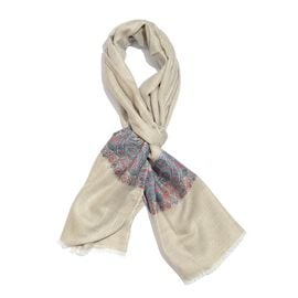 100% Cashmere Wool Cream, Green and Multi Colour Scarf with Floral Pattern Border and Fringes (Size 200X70 Cm)