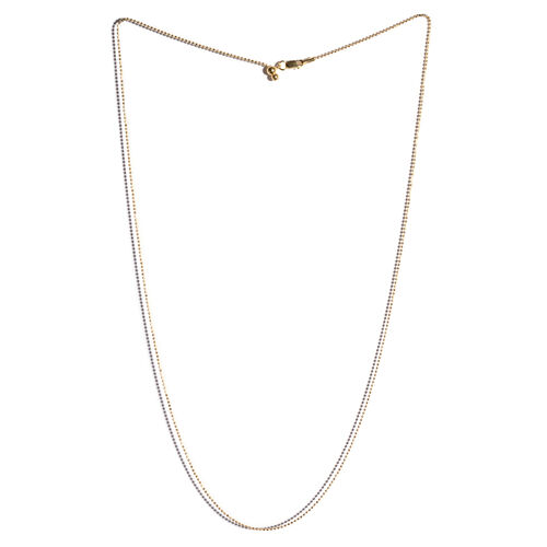 14K Gold Overlay Sterling Silver Adjustable Diamond Cut Bead Chain (Size 24)