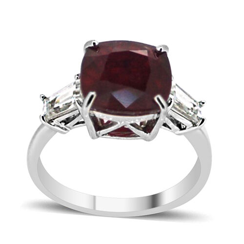 African Ruby (Cush 8.50 Ct), Natural White Cambodian Zircon Ring in Rhodium Plated Sterling Silver 9.500 Ct.