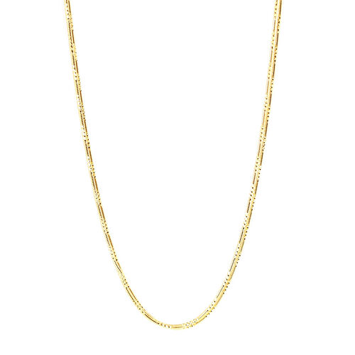 Vicenza Collection 14K Gold Overlay Sterling Silver 3 Line Snake Chain (Size 20), Silver wt 9.36 Gms.