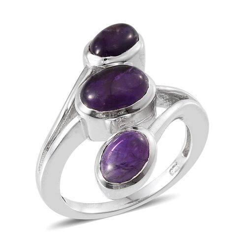 Amethyst (Ovl 1.25 Ct) 3 Stone Crossover Ring in Platinum Overlay Sterling Silver 3.000 Ct.