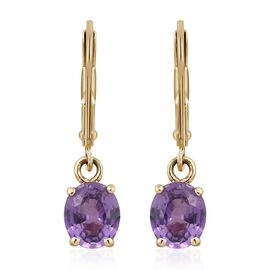 ILIANA 18K Yellow Gold UnHeated Natural Purple Sapphire (Ovl) Lever Back Earrings 1.330 Ct.