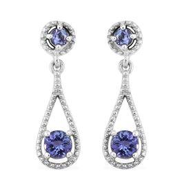 Tanzanite (Rnd) Earrings in Platinum Overlay Sterling Silver 1.000 Ct.