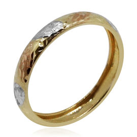 Surabaya Gold Collection 9K Yellow, White and Rose Gold Diamond Cut Band Ring