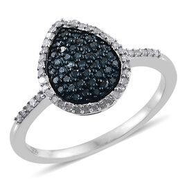 Blue Diamond (Rnd), White Diamond Ring in Platinum Overlay Sterling Silver 0.510 Ct.