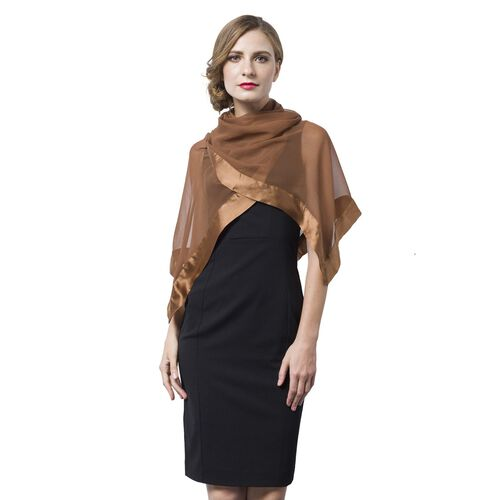End Of Season Deal -100% Mulberry Silk Chocolate Colour Scarf with Satin Border (Size 160X60 Cm)