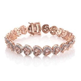 9.43 Ct Marropino Morganite and Natural Cambodian Zircon Bracelet in Rose Gold Plated Silver 30.58 gms 8 Inch Number of Gemstone 150