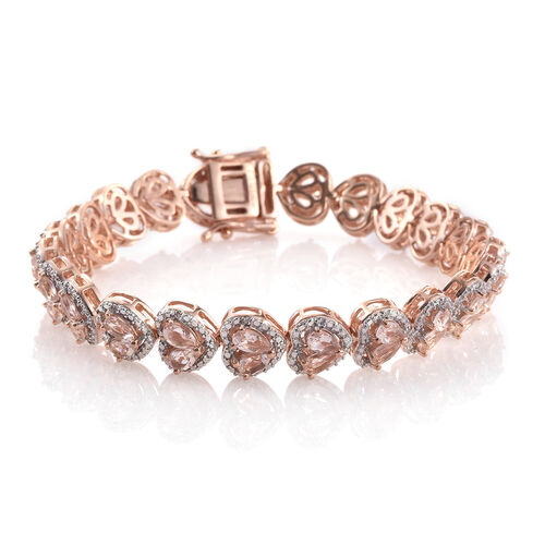 Marropino Morganite and Natural Cambodian Zircon Bracelet (Size 8.5) in Rose Gold Overlay Sterling Silver 9.435 Ct. Silver wt 22.20 Gms. Number of Gemstone 150