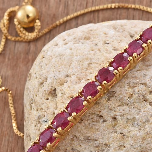 African Ruby 2.50 ct. Silver Adjustable Bracelet in Gold Overlay (Size 6.5 to 7.5)