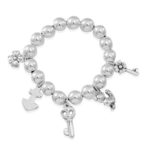 Statement Collection Sterling Silver Floral, Key, Anchor and Multi Charm Stretchable Bracelet (Size 7.5), Silver wt 28.41 Gms.