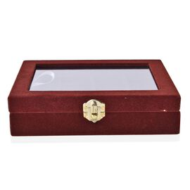 Coffee Colour 12 Sections Jewellery Organiser with Latch Closure (Size 20x15x4.5 Cm)