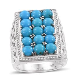 SLEEPING BEAUTY TURQUOISE (4.75 Ct) Platinum Overlay Sterling Silver Ring  4.750  Ct.
