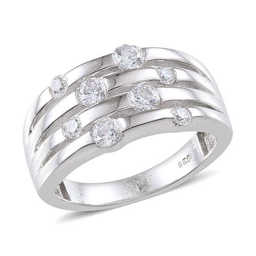 J Francis - Platinum Overlay Sterling Silver (Rnd) Ring Made with SWAROVSKI ZIRCONIA 0.920 Ct.