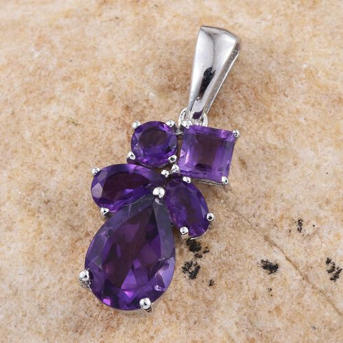 Amethyst (Pear 2.00 Ct) Pendant in Platinum Overlay Sterling Silver 3.000 Ct.