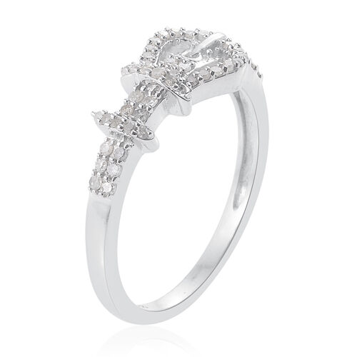 Diamond Platinum Overlay Sterling Silver Ring  0.330  Ct.