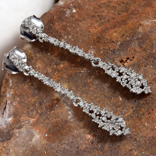 Diamond (Rnd) Dangle Earrings (with Push Back) in Platinum Overlay Sterling Silver 0.330 Ct.
