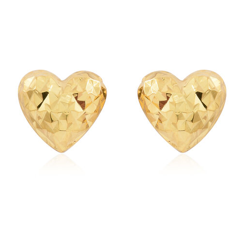 Vicenza Collection - 14K Gold Overlay Sterling Silver Diamond Cut Heart Stud Earrings (with Push Back)
