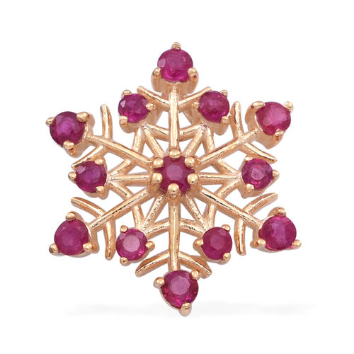 Burmese Ruby (Rnd) Snowflake Pendant in Yellow Gold Overlay Sterling Silver 1.050 Ct.
